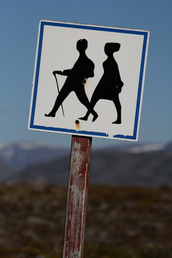Hiking sign on Hrisey Island