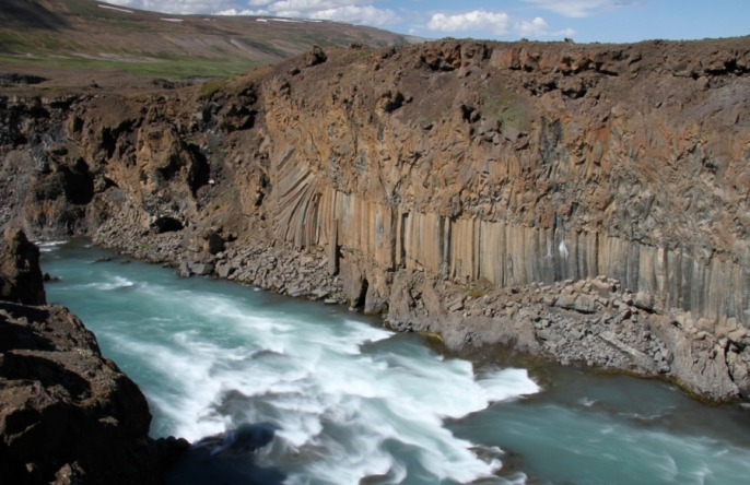 Basalt formations at Aldeyjarfoss