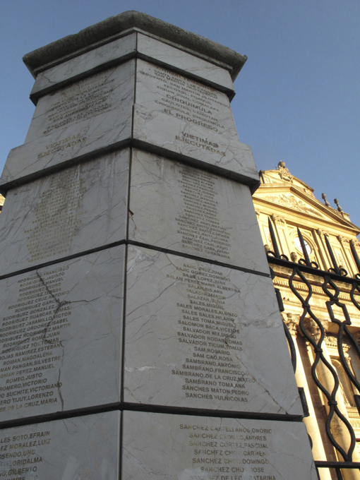 This monument to executed victims reminded us of Guatemala's turbulent past.