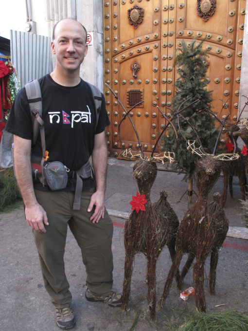 Checking out the Christmas decorations at the market.