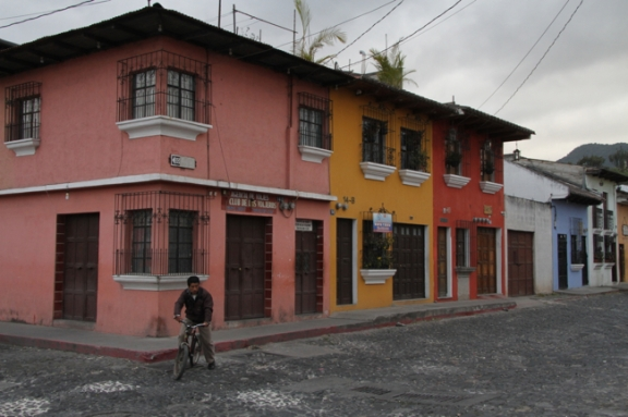 Houses and buildings are painted in a riot of colors.