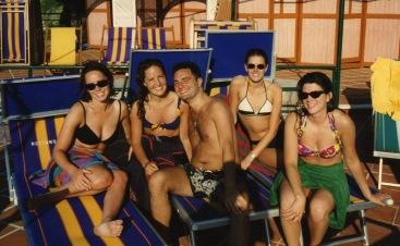 Hitting the beach in Capri with Leah (far left)