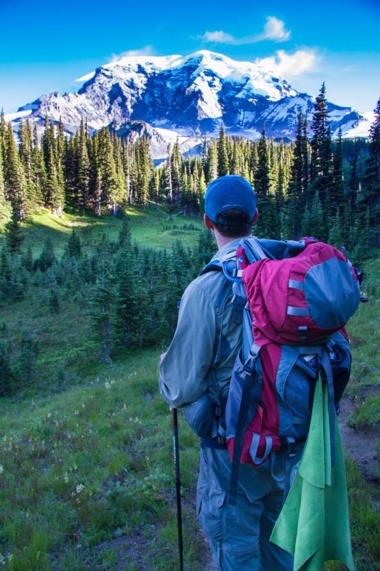 Taking in Rainier's North Face