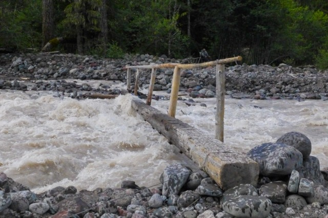Water Cresting the Bridge at South Mowich River